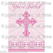 Christening Holy Communion Baptism Pink Girl Party Invites Invitation x8