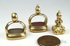 COLLECTION of ANTIQUE GEORGIAN PERIOD ENGLISH 15K GOLD AGATE INTAGLIO SEAL FOBS