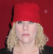 """Hats With Hair Attached NEW For Adults Kids Fun Wig AND Hat Chemo """"Red Top"""""""