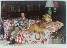 Marquess of Bath with Marquis the Lion Chrome Postcard Longleat House Wilstshire