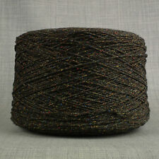 4 PLY LAMBSWOOL & SILK BOURETTE BLACK & RAINBOW SPACE DYED YARN 500g CONE 10BALL