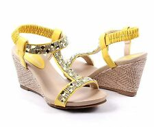 Yellow Wedges Sandals Ankle Strap Platform Womens High Heels Shoes Size 8