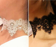 set of 2,sexy lace choker,white color + black color,lace choker for woman