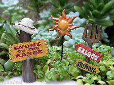 Miniature Dollhouse FAIRY GARDEN ~ Wild West WESTERN Gnome on the Range 3 Signs