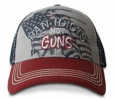 BUCK WEAR HAT - BAN IDIOTS NOT GUNS, FLAG HUNTING HAT, PATRIOTIC