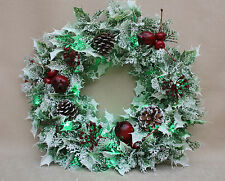 ARTIFICIAL CHRISTMAS FROSTED WREATH DOOR/TABLE DECORATION - BATTERY LED LIGHTS