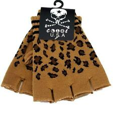 Knitted Brown Leopard Print Fingerless Gloves Animal Print Hand Warmers