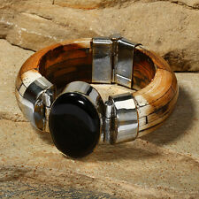 Tara Mesa Onyx & Brown Bone Bangle Bracelet @STUNNING@ MSRP~$525.00