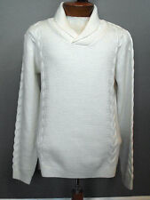MURANO ~ NWT Ivory White Extra Fine Merino Wool Sweater ~ Cable Shawl Collar S