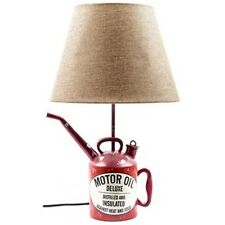 Red Resin Oil Can Lamp with Tan Shade Man Cave Garage Texaco Gulf Sunoco Style