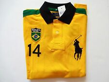 New Ralph Lauren Polo Custom Fit Big Pony Yellow 100% Cotton Brazil Shirt sz XXL