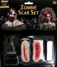 ZOMBIE SCAR SET - HALLOWEEN WALKING DEAD FACE PAINT MAKE UP FAKE BLOOD 11936