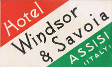 Hotel Windsor & Savoia-Assisi Italy-Italian Flag Colors-Vintage Luggage Label
