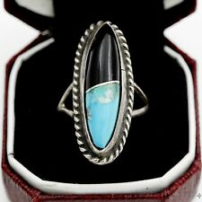 Vintage Sterling Silver Native Pawn Indian Navajo Turquoise & Onyx Ring Sz 5