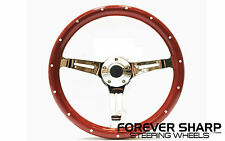 "14"" Euro Mahogany Universal 5 Hole Steering Wheel w/ Horn Button"