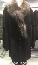Men's Size 40  NEW Sheared Beaver Fur Coat with Fox Fur Collar Clearance Sale