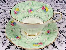 PARAGON EVANGELINE GREEN ROSE FLORAL TEA CUP AND SAUCER