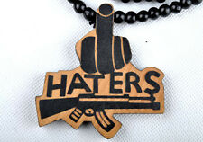 Haters Hip-Hop Theme Wood  Necklaces Pendant Beads Chain Necklaces Best Gift