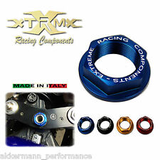 Head tube nut XRC, SUZUKI GSR 750, 11-14, Steering head nut, blue, blue, M22x1