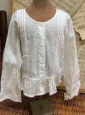 BONPOINT White LAWN HANKY-WEIGHT BOHO SHIRT Blouse Top 3 Bohemian France