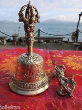 """5"""" 13cm TALL BRASS HANDCRAFTED REFUGEES TIBETAN BUDDHIST RITUAL BELL & DORJE SET"""