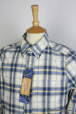 ABERCROMBIE MENS SHIRT SMALL CHAMBRAY CHECK MUSCLE FIT BRUSH COTTON LONG SLEEVE