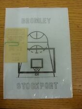 28/03/1975 basket-ball programme: bromley v stockport & bromley juniors east kent