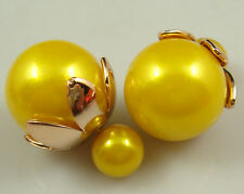 hot 1Pair Celebrity Runway Double Pearl Beads Plug Earrings Ear Studs Pin ldm6