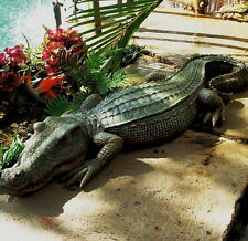 Crocodile Statue Alligator Sculpture Garden Decor Reptile Resin Animal Lawn Art