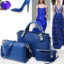 3PCS Women Lady Leather Handbag Shoulder Crossbody Bag Tote Messenger Purse Blue
