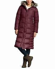 EDDIE BAUER ESSENTIAL DUFFLE DOWN PARKA TRENCH COAT WINE 650FP ARCTIC COLD S