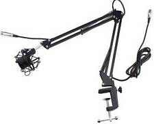 Microphone Suspension Boom Scissor Arm Stand w/Shock Mount for Studio Black