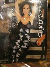ELEGANT MOMENTS HOLLOWEEN SPIDER WEB PRINT BODYSTOCKING OPEN CROTCH BLK 1 SIZE