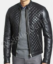 Black Quilted Motorcycle Biker Handmade Real Leather Jacket Mens