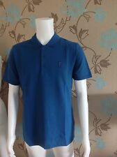 VERSACE BLUE POLO SHIRT WITH EMBROIDERED HALF MEDUSA TO CHEST SIZE EXTRA LARGE