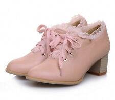 Trend Cute Lolita Retro Lace Shoes Womens Chunky Kitten Lace Up Oxford Shoes Hot