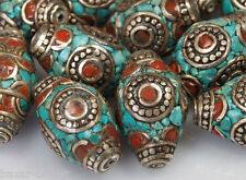 5x Tibetano CORALLO TURCHESE PERLE Tibet Nepal Turquoise Coral Brass Beads no: a