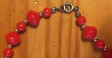 Classic Vintage Skittles Shaped Chinese Red Plastic Beaded Necklace