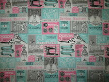 VINTAGE SEWING ITEMS MACHINES SCISSORS MORE TEAL PINK COTTON FABRIC FQ