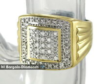 mens diamond yellow ring .11-carats ice out bling 925 silver hip hop man