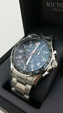 VICTORINOX CHRONO CLASSIC XLS BUSINESS WATCH BLACK/SILVER 45MM 241443 {2-34}