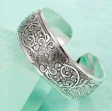 "Western Jewelry Antiique Silver 925 Plated  Engraved  3/4"" Wide Cuff Bracelet"