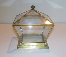 Vintage Decorative Glass And Brass Display Trinket Box - Geometric design.