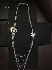 RARE CHANEL CC Badge Long Multi Strands Dangling Chains Pendent Charm Necklace