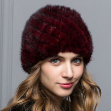 Real Burgundy Knitted Mink Fur Hat Cap Winter Warm Lady Gift Women's Snow Hat