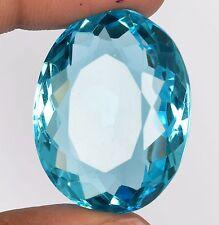 73.4 Ct. Certified Brazilian Swiss Blue Topaz 32 mm Oval Shape Gemstone X-888