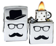 Zippo 28648 Top Hat Glasses And Mustache Brushed Chrome Windproof Lighter NEW