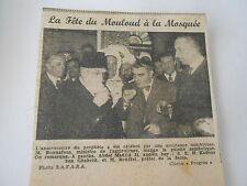 La Fête du Mouloud à la Mosquée Coupure de presse 1943