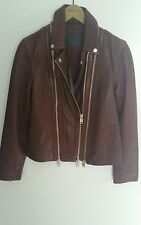 Bnwt Allsaints osano Biker in Pelle jacket.uk 8. Sahara / Burgundy / Marrone. £ 358