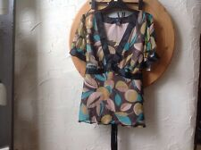 BNWT Size UK 2X Lovely FUSION Black/ Multi Silk Top- Short Sleeve